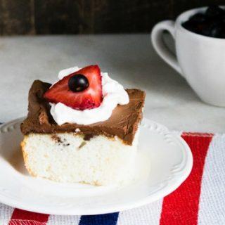 chocolate ganache white poke cake
