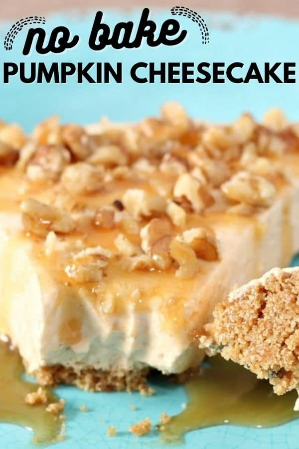 no bake pumpkin cheesecake on a plate with words