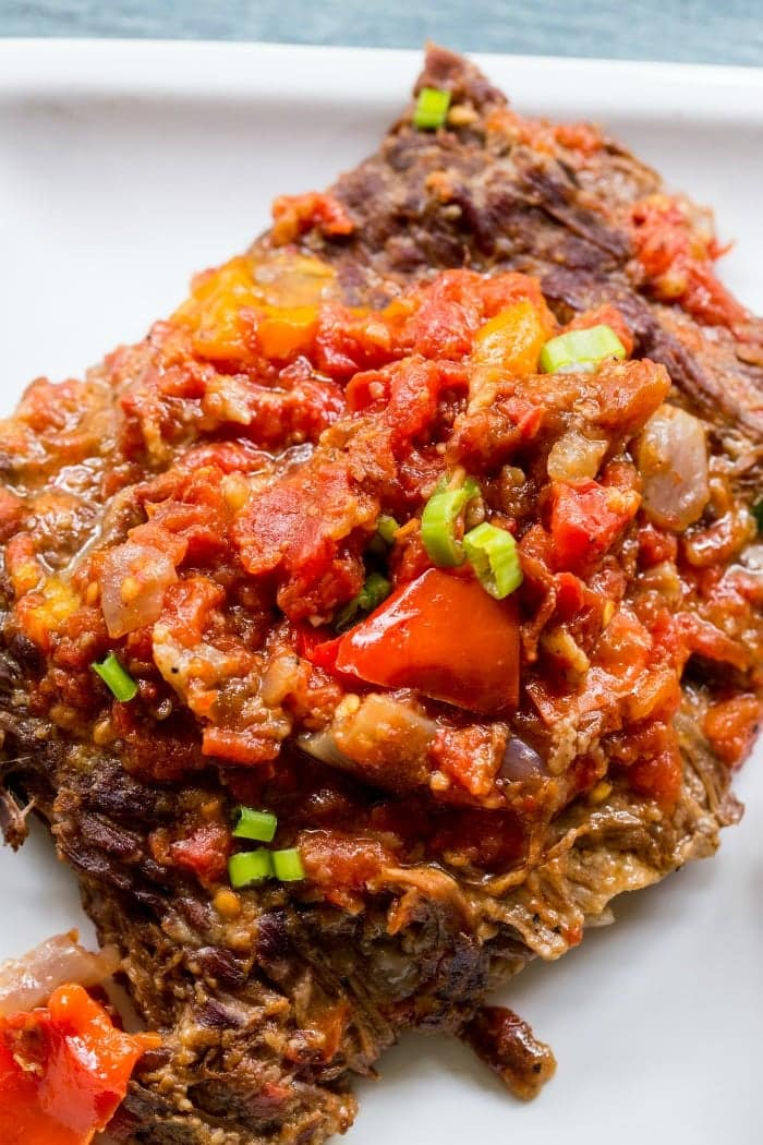 instant pot swiss steak on a plate