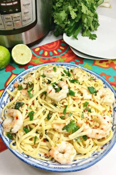 Instant Pot Cilantro Lime Shrimp Scampi Pasta