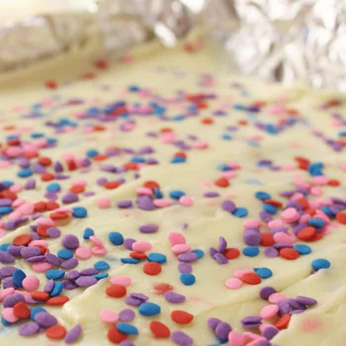 birthday cake fudge in a pan