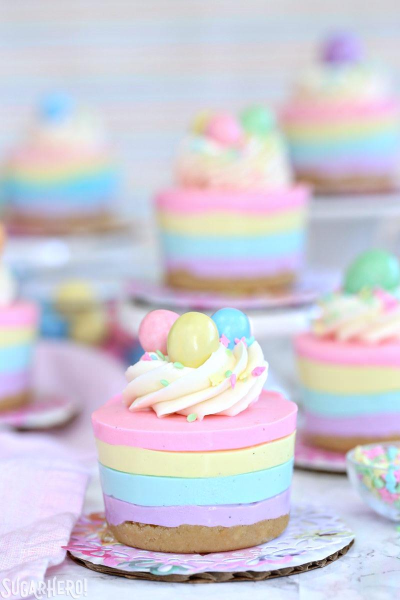 easter colored no bake cheesecake