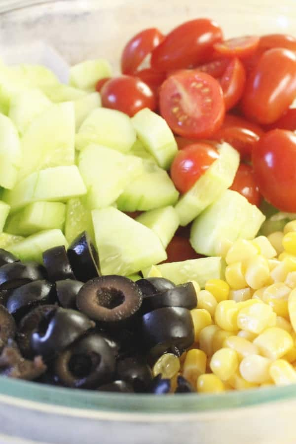 diced up vegetables in a bowl for vegetable salad