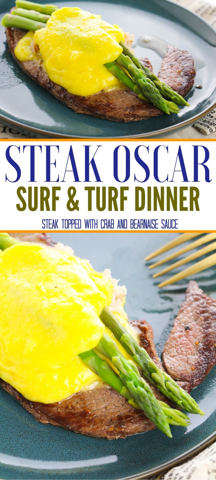 steak oscar surf and turf on plate