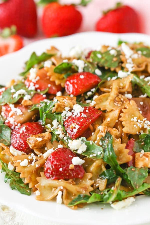 Strawberry Feta Balsamic Pasta Salad for Summer!