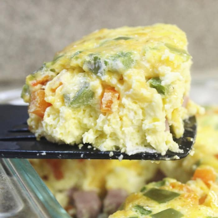 breakfast omelette scooped out of pan