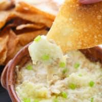 Crab Rangoon Dip with Wonton Chips (Hot Crab Dip!)