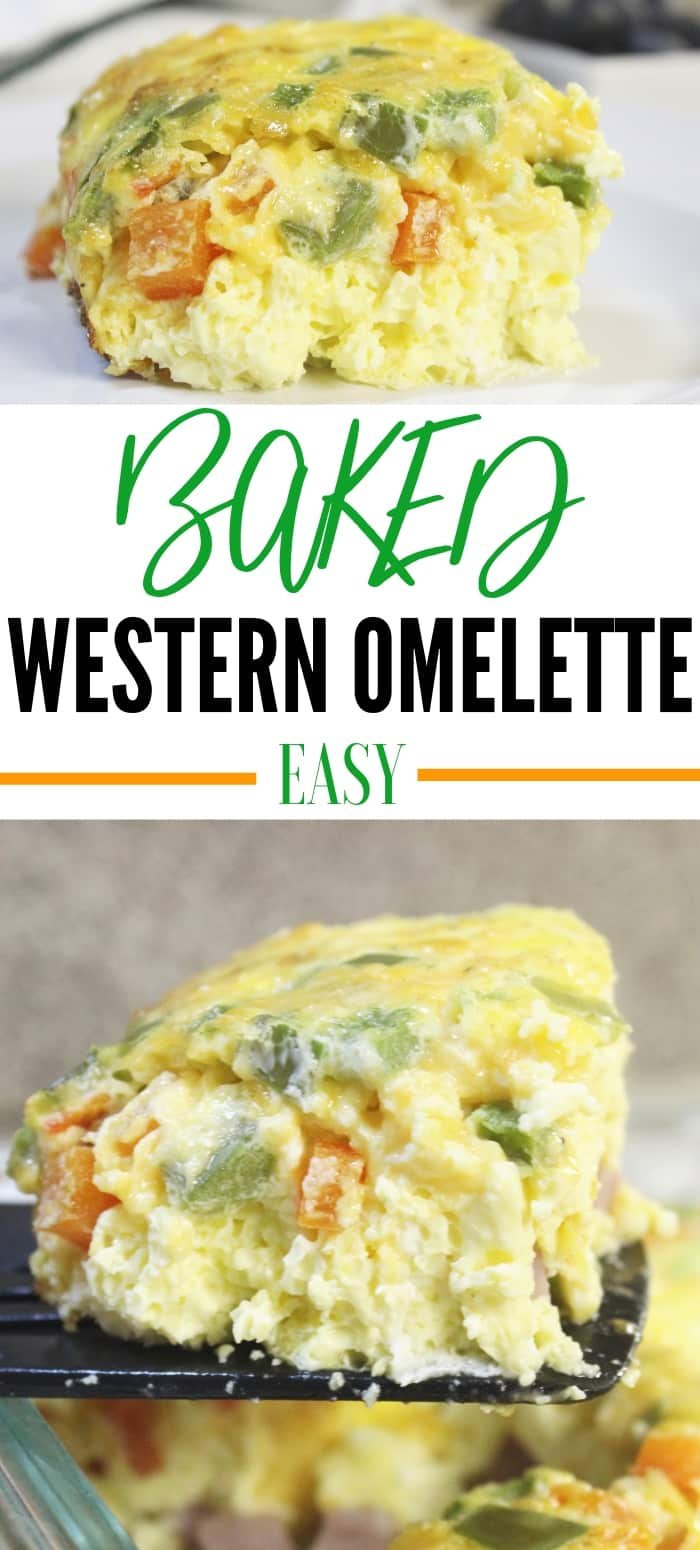 Serve up this baked western omelette for breakfast, lunch, or dinner! Easy prep, and within no time you have a fluffy egg omelet baked in the oven. #western #denver #omelette #easy #baked #casserole #peppers #cheese #breakfastcasserole #recipe #ham #bake #simple #Athome #lunch #healthy