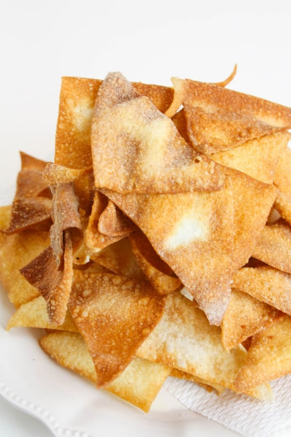 wonton chips on plate