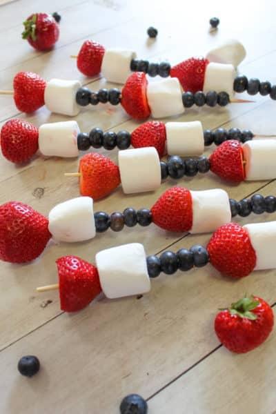 Super Easy Patriotic Fruit Kabobs