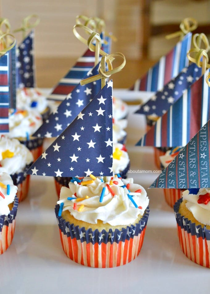 4th of july sailboat cupcakes on table displayed
