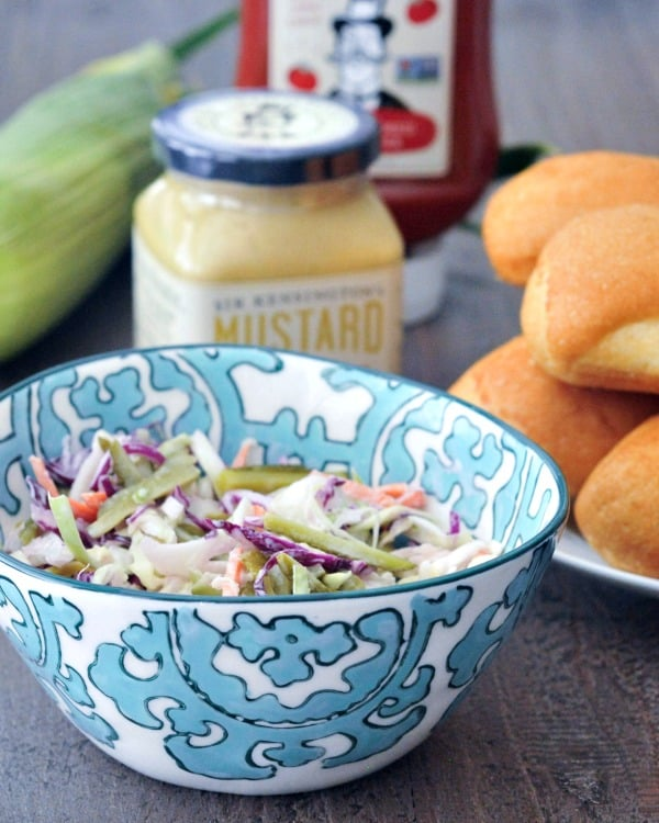 Tangy Pickled Cornichon Slaw | Oil Free BBQ Recipe
