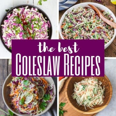 a variety of coleslaw recipes pictured
