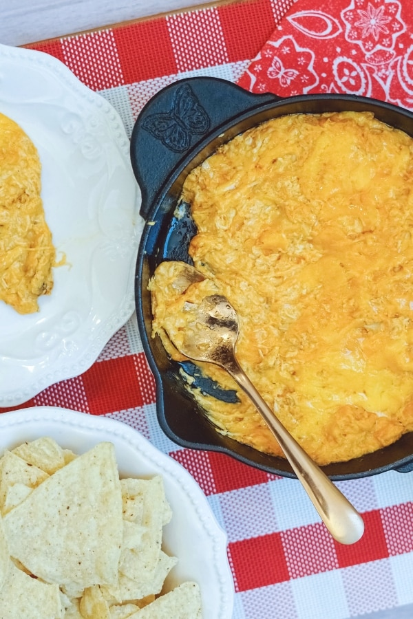 easy buffalo chicken dip in pan with spoon covered in dip