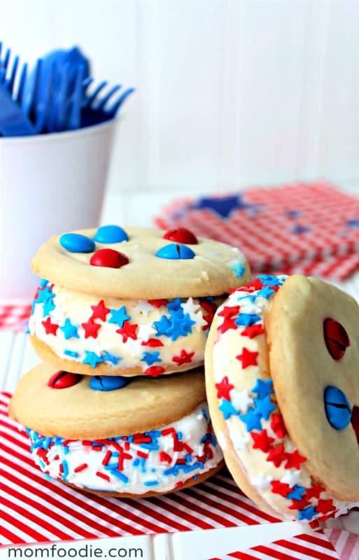 patriotic ice cream sandwiches on table