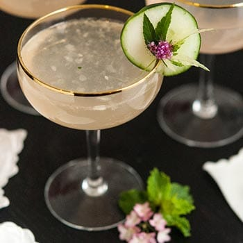 Sparkling Pink Grapefruit Cocktail with Cucumber
