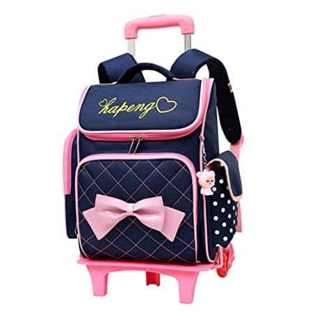 Adanina Cute Print Bowknot Trolley Backpack Elementary Middle School Rolling Bag
