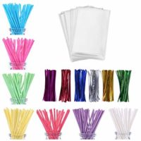 600ct Lollipop Cake Pop Kit Including 200 Lollipop Sticks, 200 Lollipop Bags and 200 Twist Ties, Candy Wrappers Accessories Set