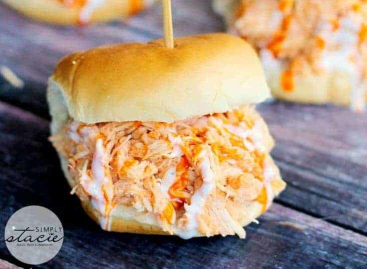 Slow Cooker Buffalo Chicken Sliders - Simply Stacie