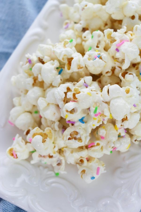 cake batter popcorn on a serving tray on table