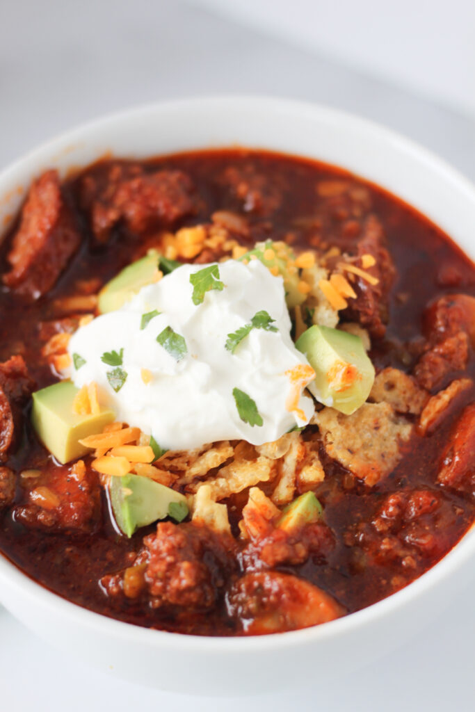 Instant Pot Chili with Kielbasa (The Best Low Carb Keto Chili Without Beans)
