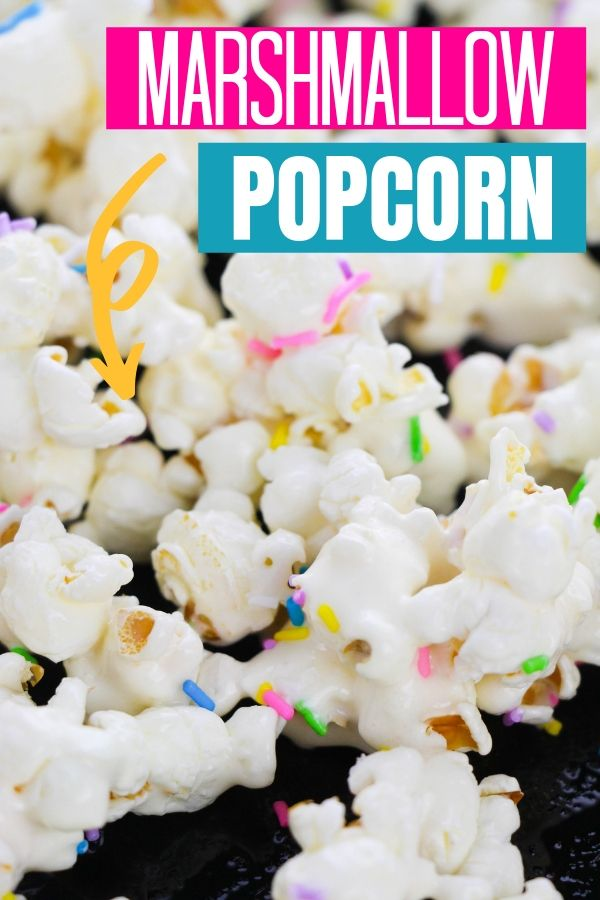 Marshmallow Popcorn with Sprinkles  on a sheet pan