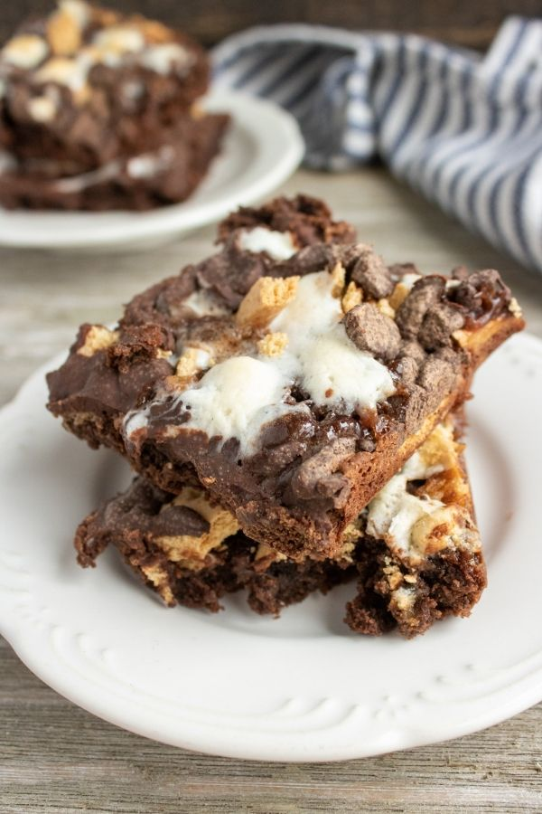 smore brownies on a plate