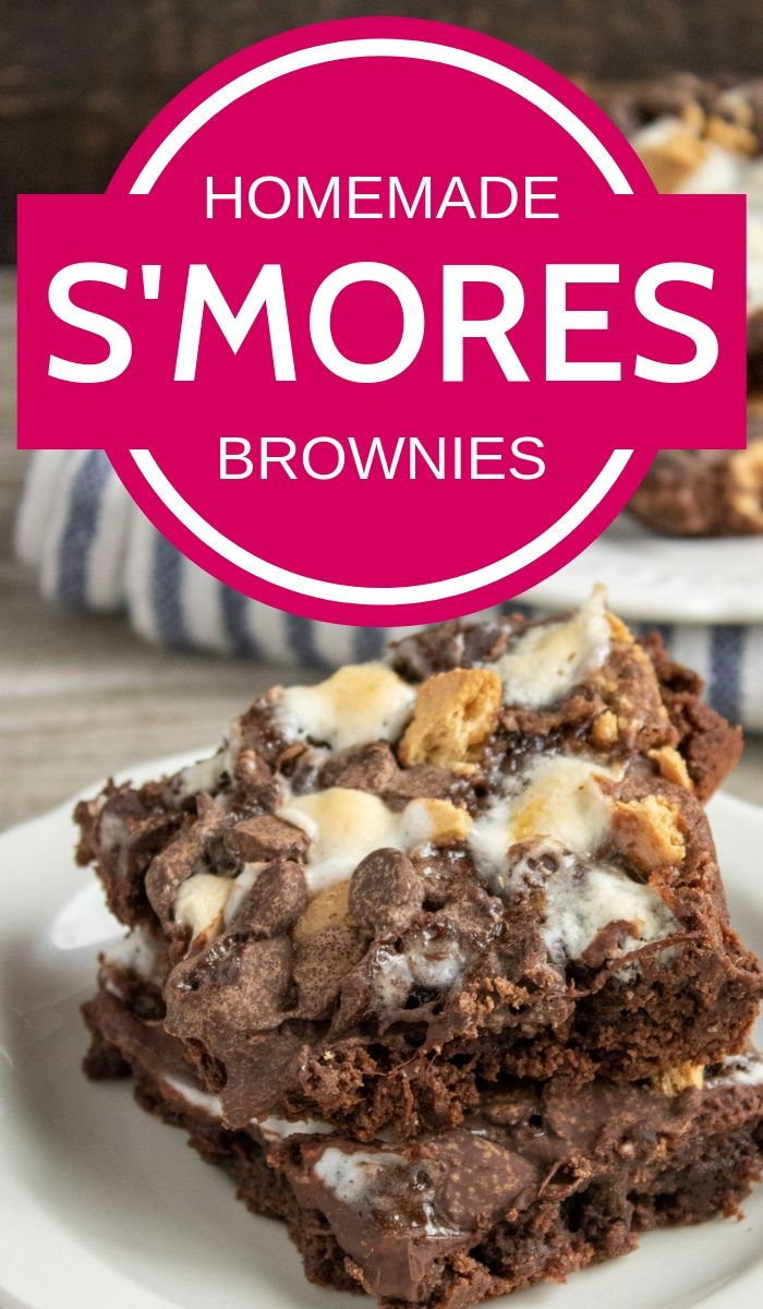 smores brownies pinnable image