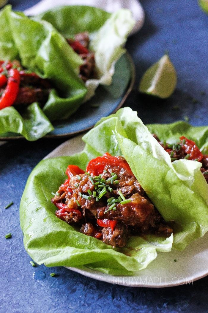 Instant Pot Beef lettuce wraps (Whole30, Paleo, Keto, low carb)