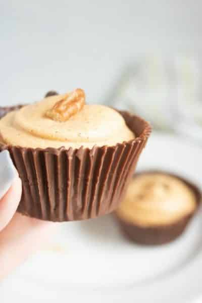 Pumpkin Mousse in Homemade Chocolate Cups