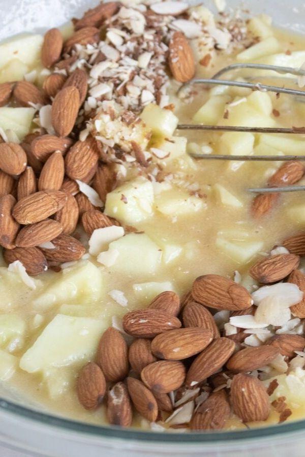 almond apple pie batter in a bowl
