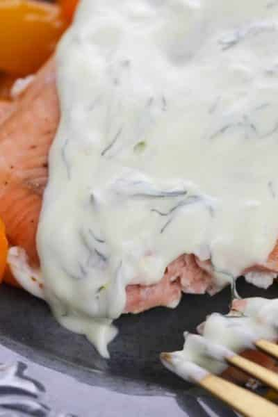 Instant Pot Duo Crisp Air Fryer Salmon with Dill Sauce (Low Carb)