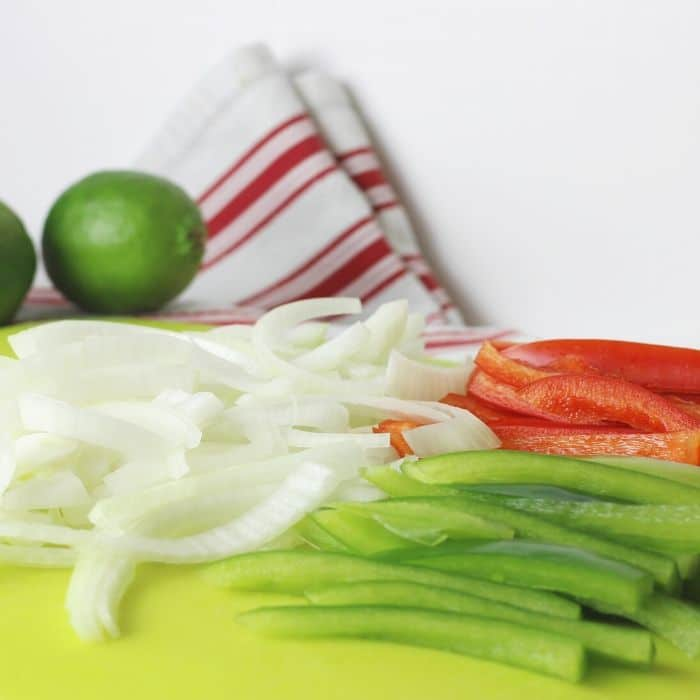 prepped vegetables for steak fajitas
