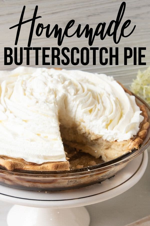 Butterscotch Pie with a homemade whipped topping. No pudding mix, a homemade classic butterscotch pie with a custard filling. #butterscotch #pie #whippedtopping #dessert #pie #partyfood #holiday #Easter #familydessert #potluckdessert #custardpie #homemade #fromscratch