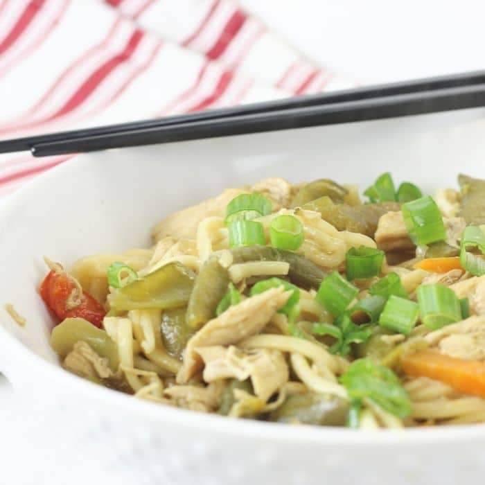 chicken lo mein in a bowl