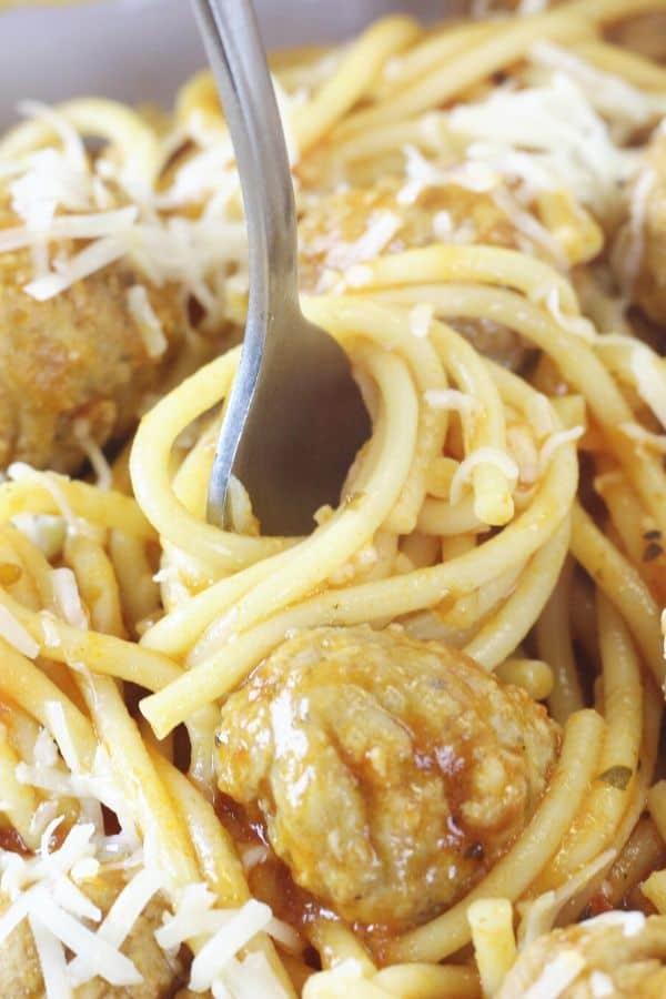 spaghetti twirled on fork
