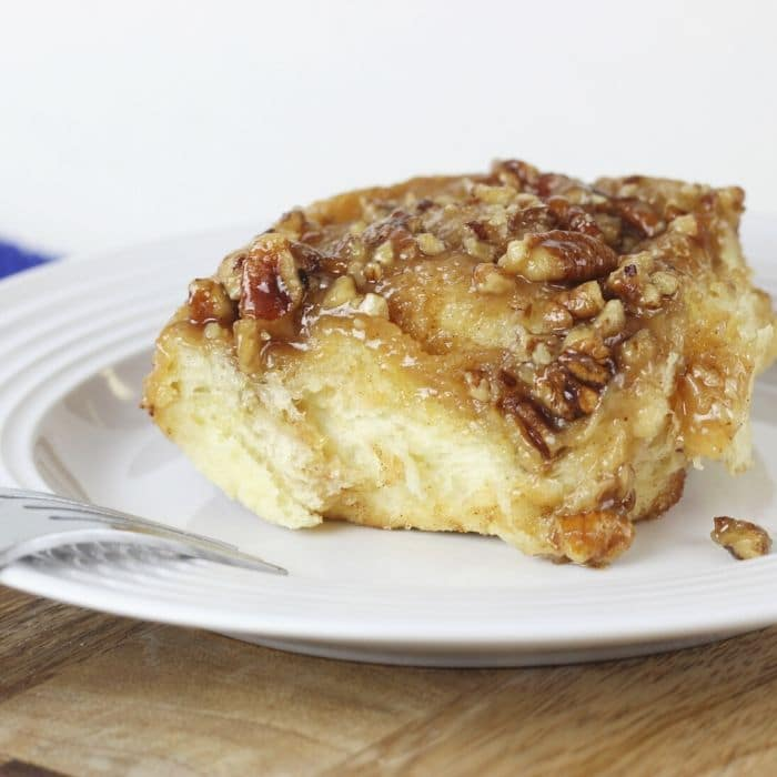 Instant Pot Pecan Sticky Buns are crazy delicious. A homemade dough, swirls of cinnamon sugar, and then a caramel sauce and pecans. Caramel Pecan rolls that you let the dough rise right in your pressure cooker. #instantpot #pressurecooker #pecan #stickybuns #caramel #homemade #fromscratch #instapot #recipe #breakfast #dessert #best #yeast #moist
