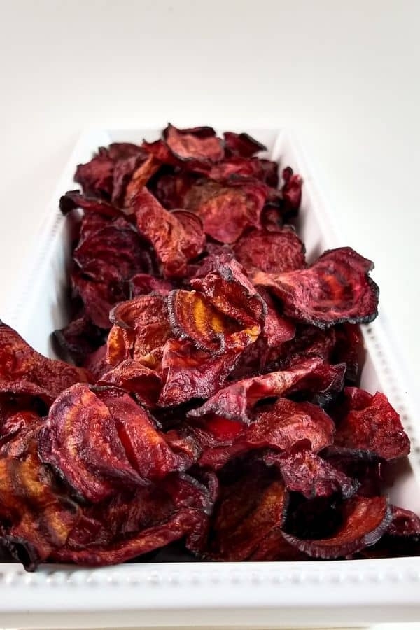 air fryer beet chips on platter