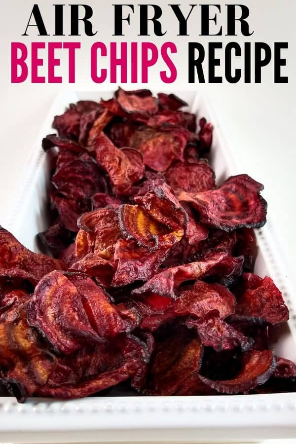 beet chips on a tray with writing above it for social promoting
