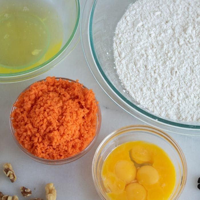 ingredients for carrot waffles