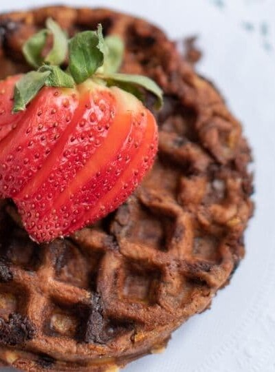 Keto Chocolate Chaffles With Strawberries Recipe