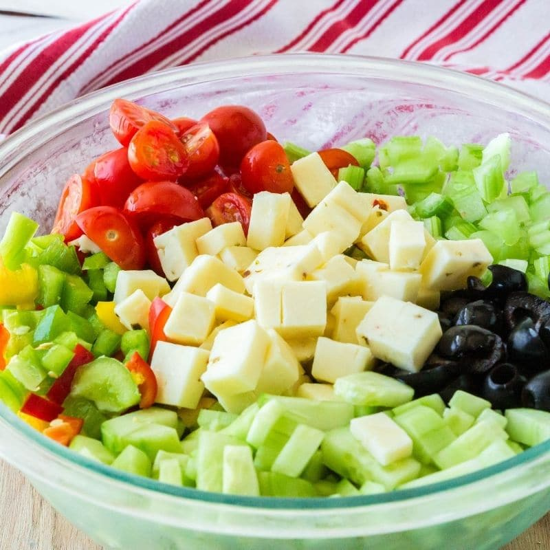 bowl of diced vegetables in a glass bowl