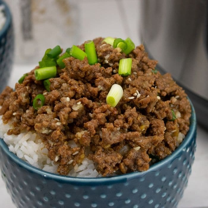 close up of bowl of beef with green onions and sesame seeds on top