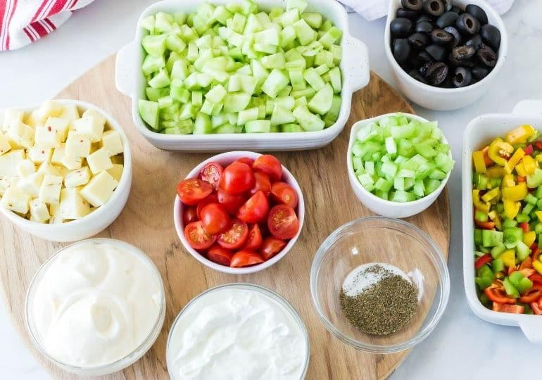 veggie salad ingredients on table