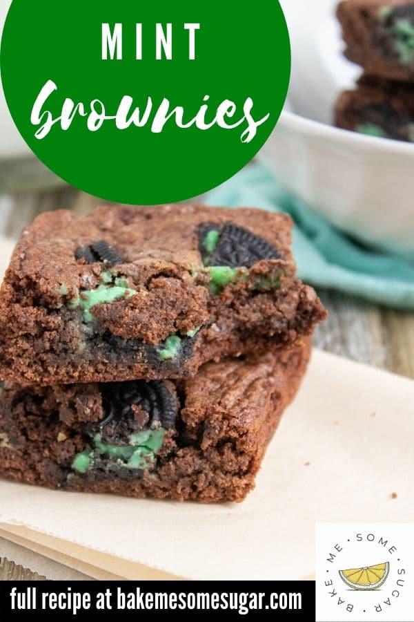 mint Oreo Brownies on table