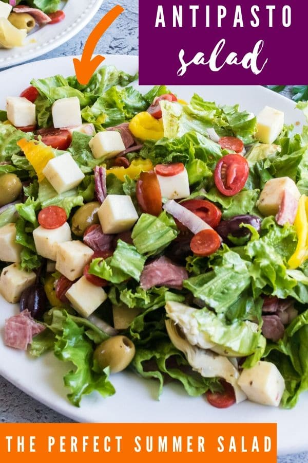 antipasto salad on a white platter