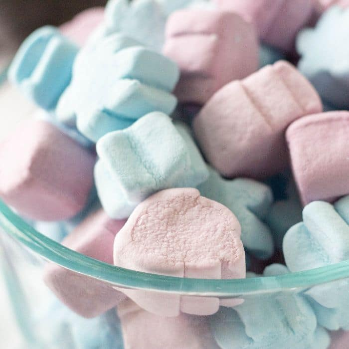 bowl of purple and blue marshmallows