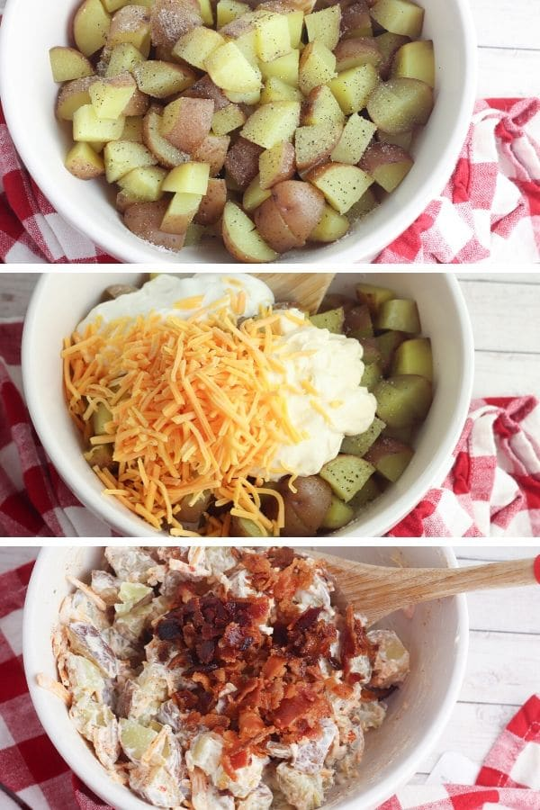 process images of how to make instant pot potato salad