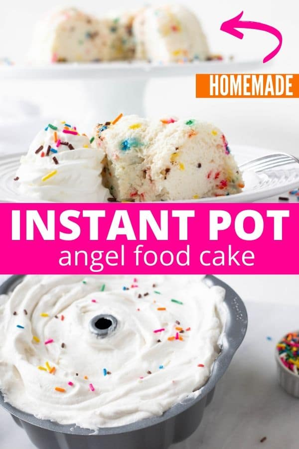 instant pot angel food cake on a plate with whipped cream by it