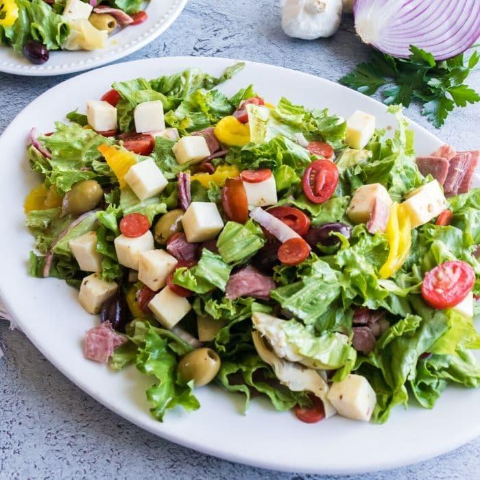 Italian Chopped Salad on a white plate